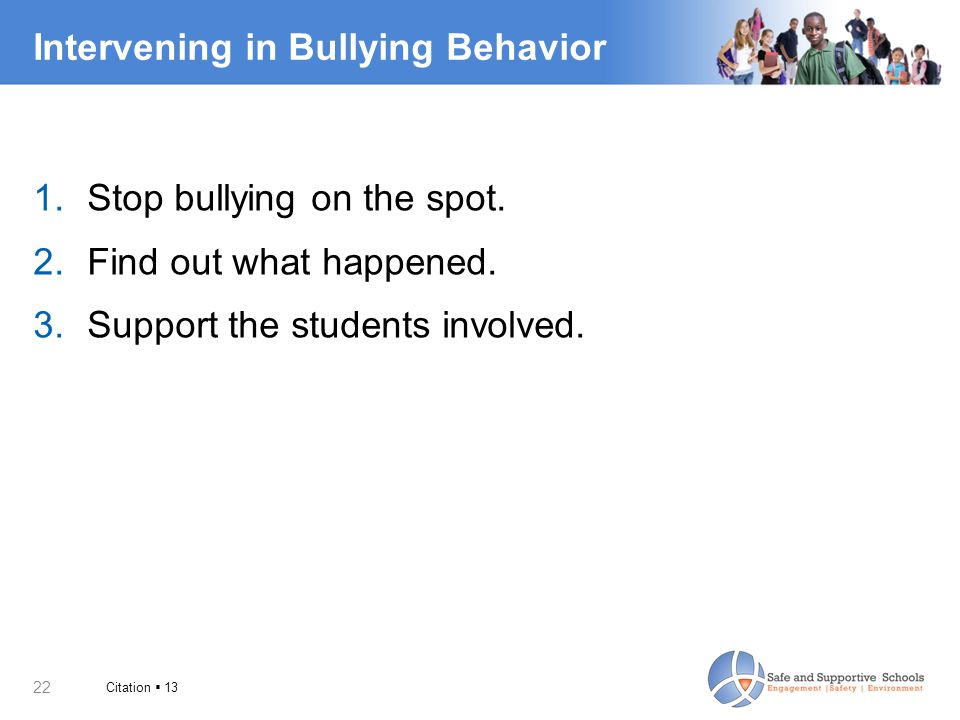 Intervening in Bullying Behavior