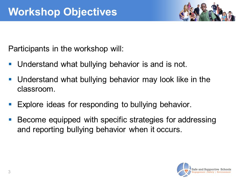 Workshop Objectives Participants in the workshop will:
