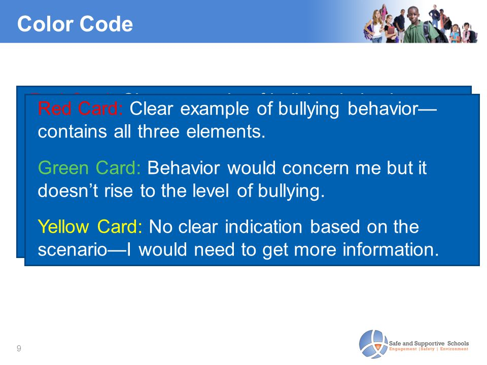 Color Code Red Card: Clear example of bullying behavior— contains all three elements.