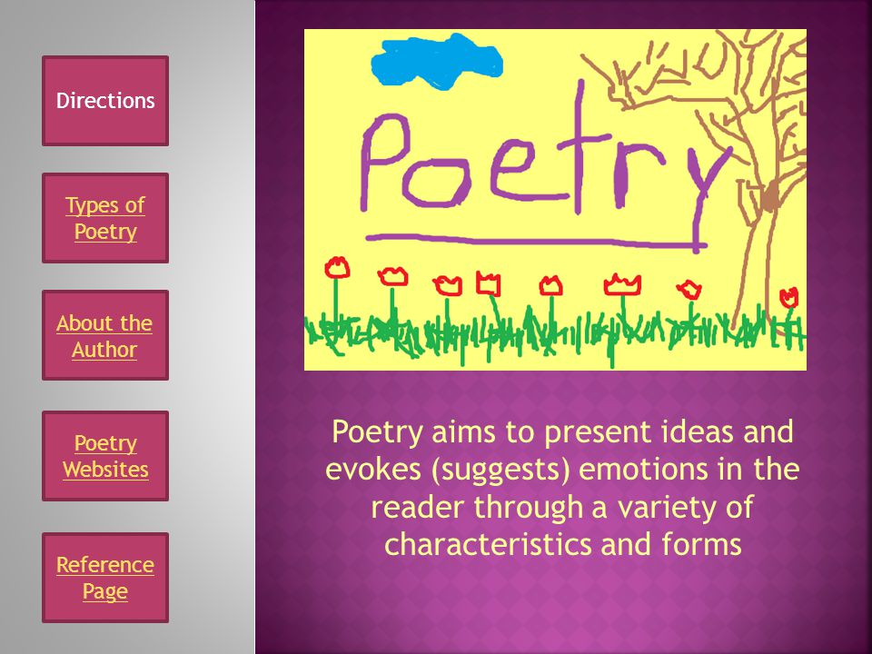 Directions Types of Poetry. About the Author.