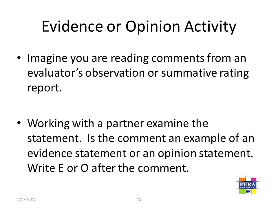Evidence or Opinion Activity