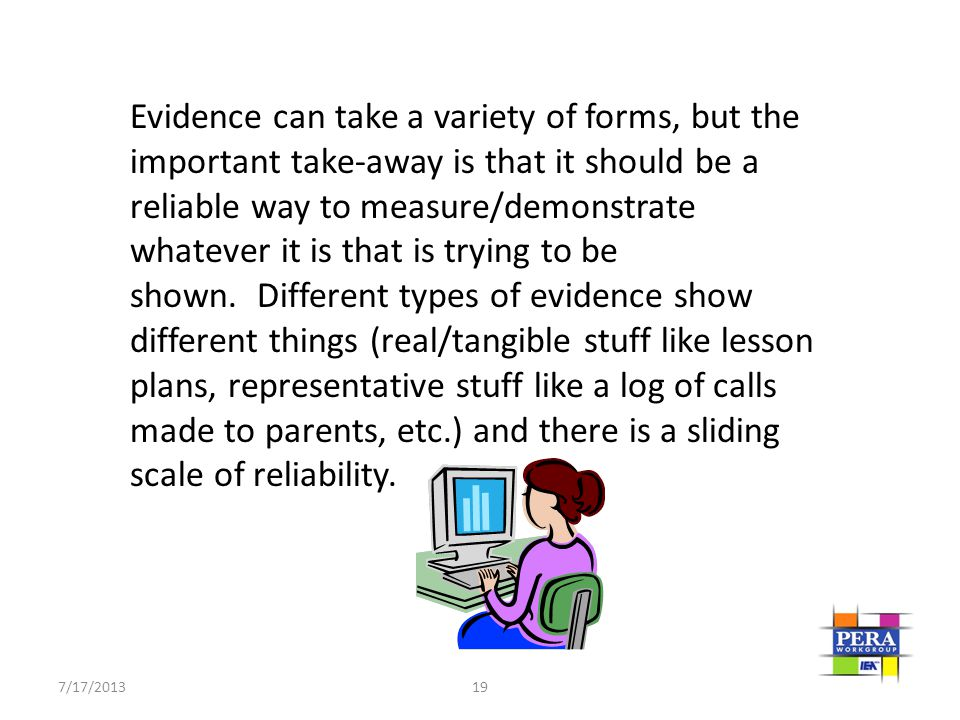 Evidence can take a variety of forms, but the important take-away is that it should be a reliable way to measure/demonstrate whatever it is that is trying to be shown. Different types of evidence show different things (real/tangible stuff like lesson plans, representative stuff like a log of calls made to parents, etc.) and there is a sliding scale of reliability.