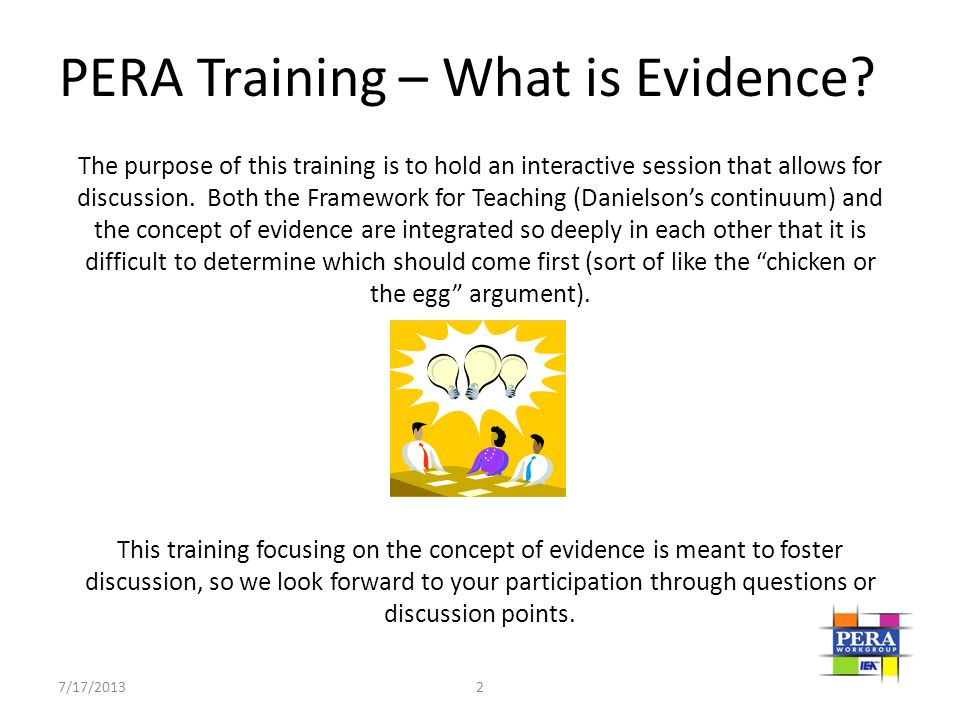 PERA Training – What is Evidence
