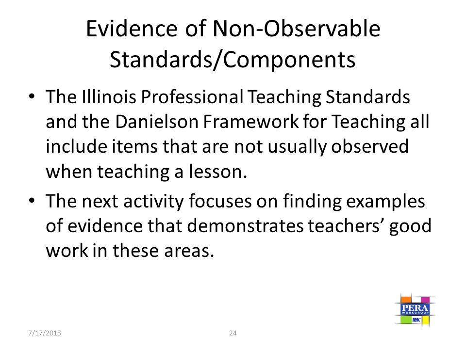Evidence of Non-Observable Standards/Components