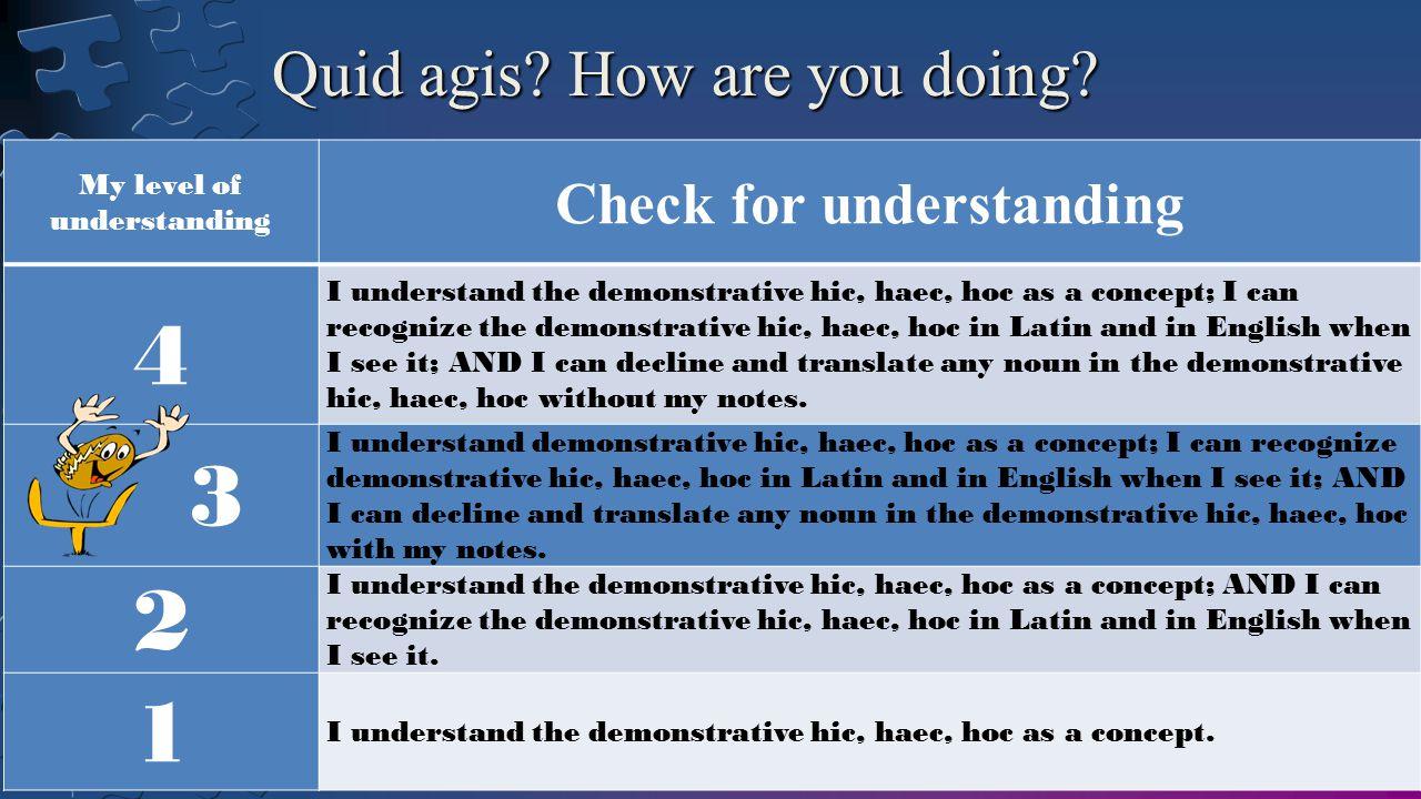 My level of understanding Check for understanding