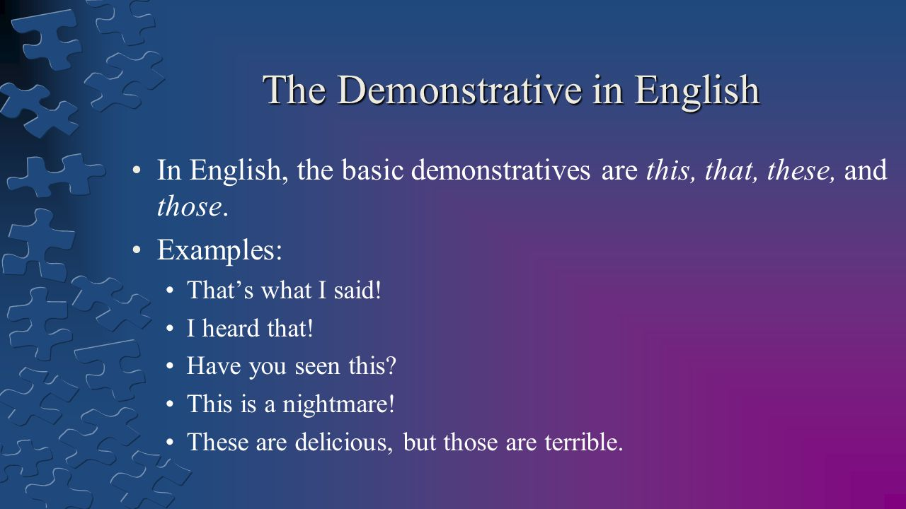 The Demonstrative in English