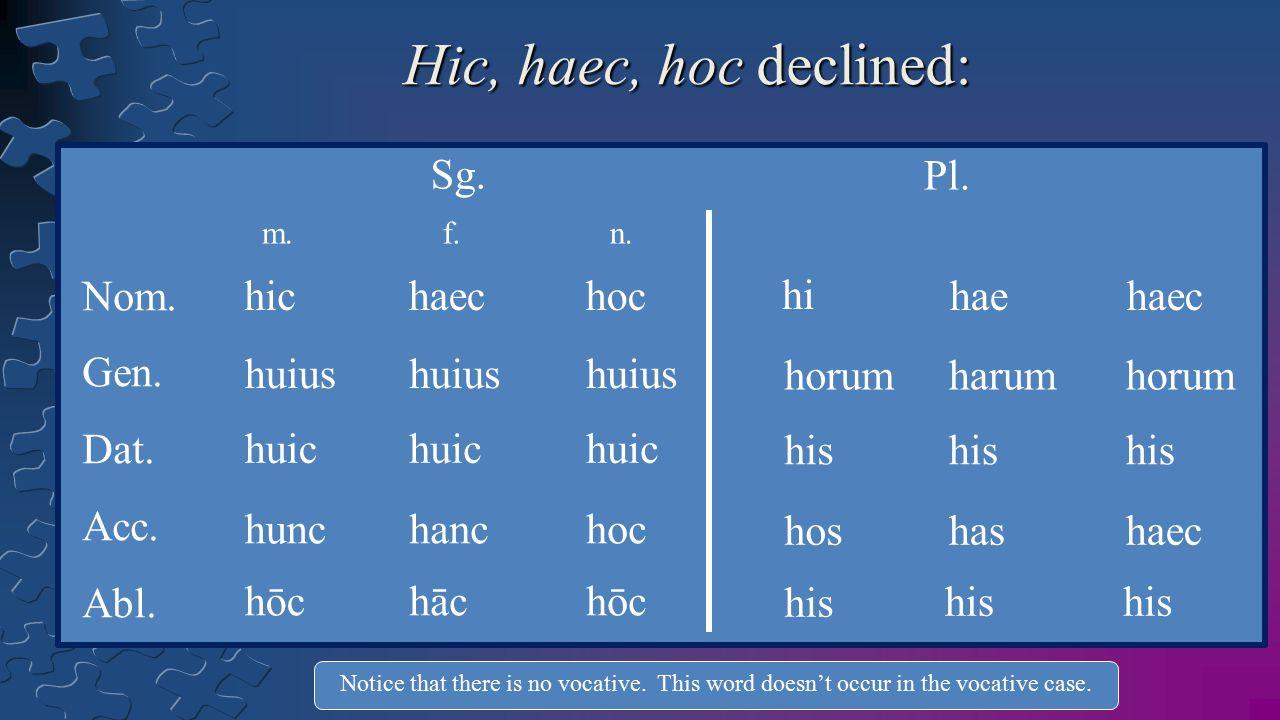 Hic, haec, hoc declined: Sg. Pl. Nom. Gen. Dat. Acc. Abl. hic haec hoc