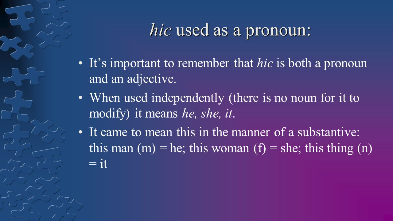 hic used as a pronoun: It's important to remember that hic is both a pronoun and an adjective.