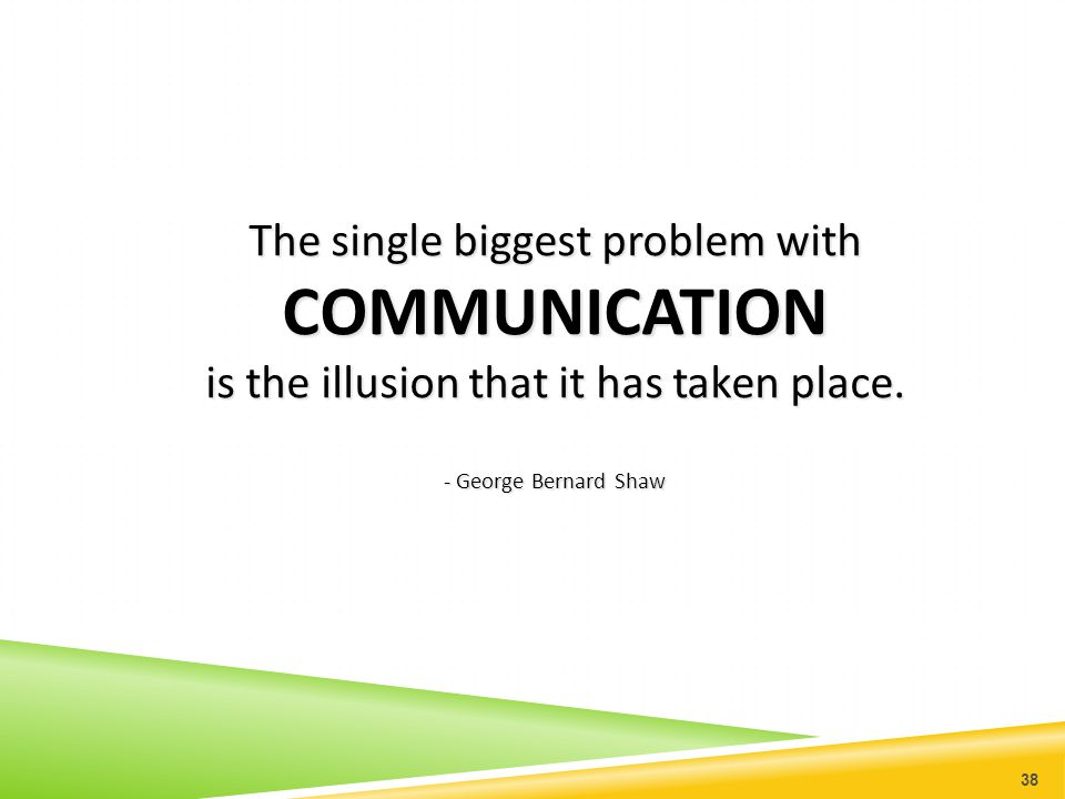 COMMUNICATION The single biggest problem with