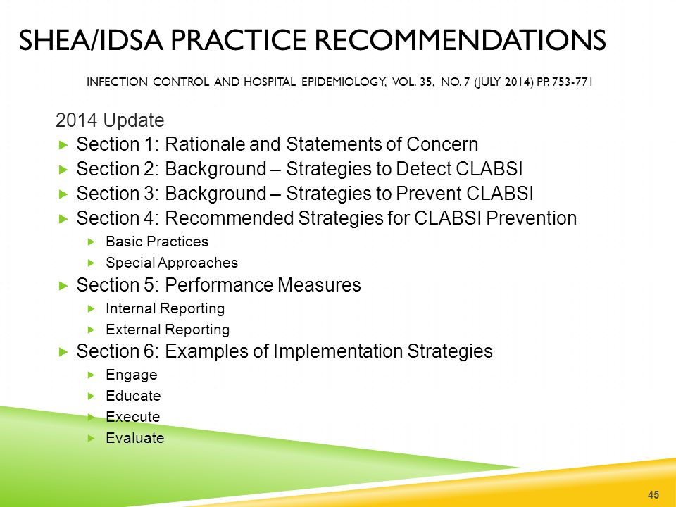 SHEA/IDSA Practice recommendations