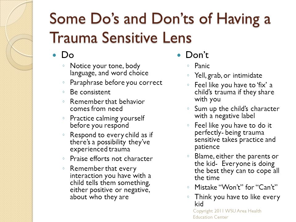 Some Do's and Don'ts of Having a Trauma Sensitive Lens