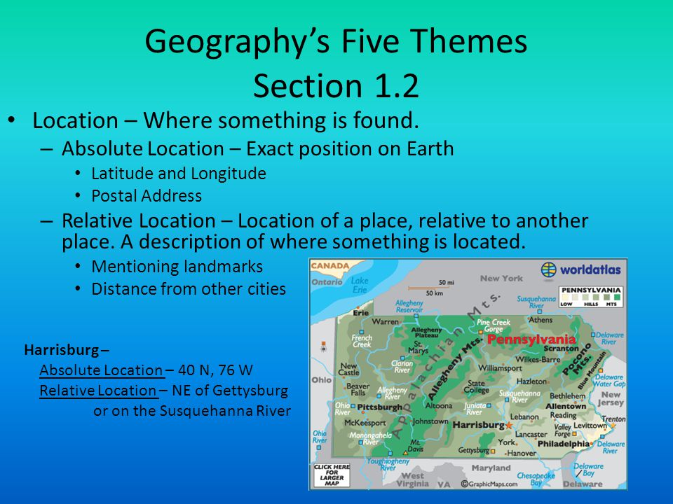 Geography's Five Themes Section 1.2