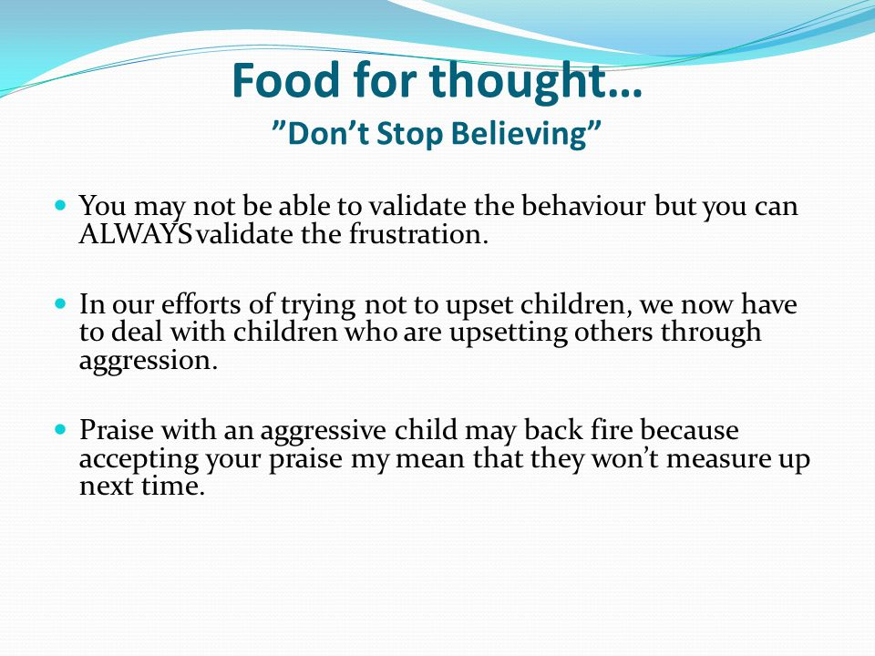 Food for thought… Don't Stop Believing