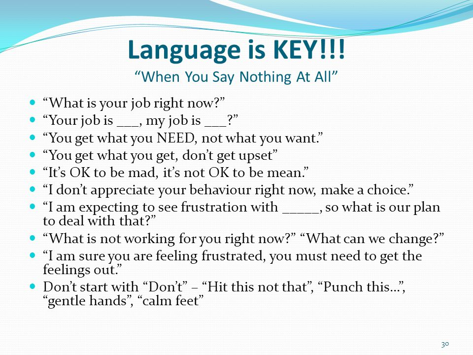 Language is KEY!!! When You Say Nothing At All