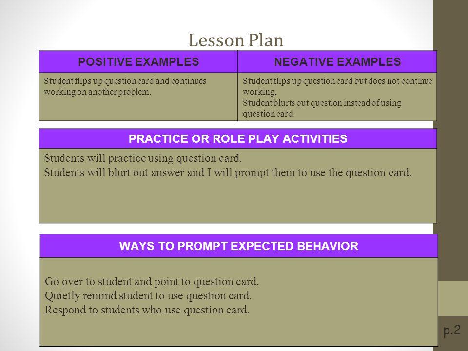 Social Skills Lesson Plan
