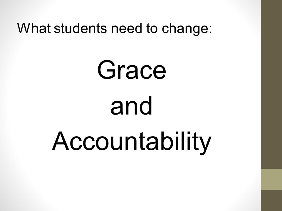 Grace is: Giving Responsibility and Accountability to Children in Education.