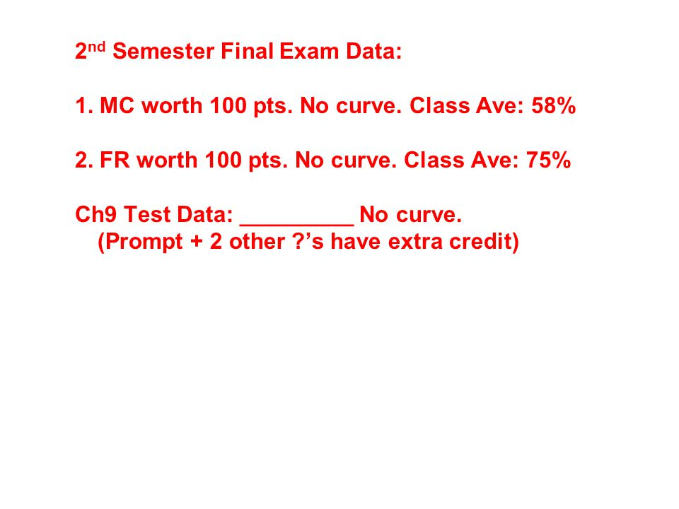 2nd Semester Final Exam Data: