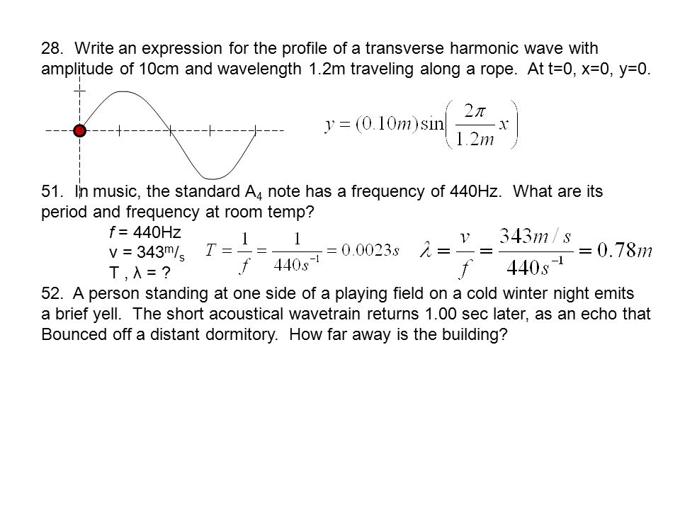 28. Write an expression for the profile of a transverse harmonic wave with