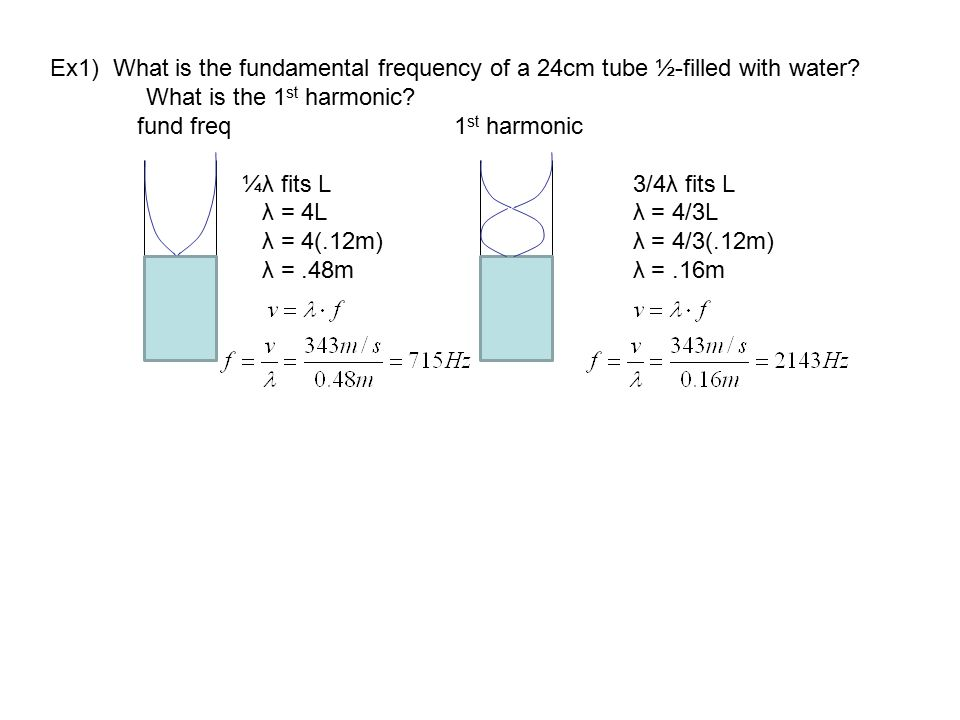Ex1) What is the fundamental frequency of a 24cm tube ½-filled with water