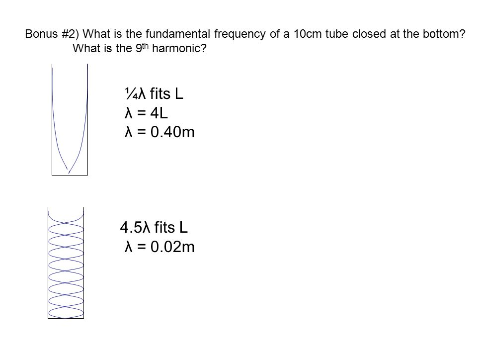 Bonus #2) What is the fundamental frequency of a 10cm tube closed at the bottom