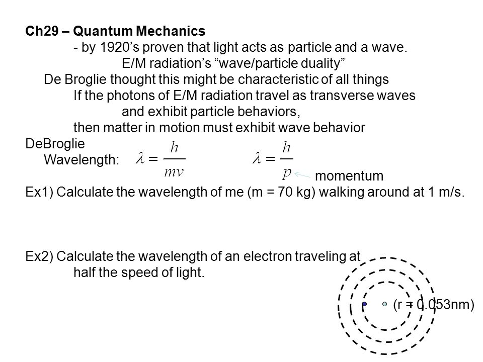 Ch29 – Quantum Mechanics - by 1920's proven that light acts as particle and a wave. E/M radiation's wave/particle duality