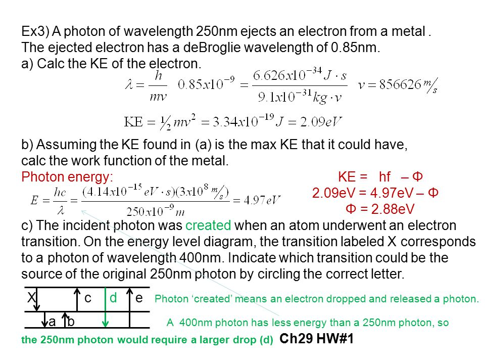 Ex3) A photon of wavelength 250nm ejects an electron from a metal .