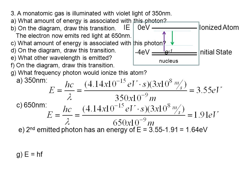 e) 2nd emitted photon has an energy of E = 3.55-1.91 = 1.64eV
