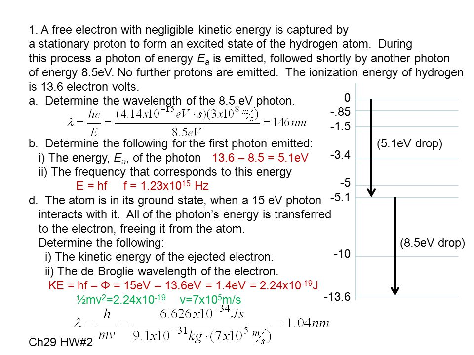 1. A free electron with negligible kinetic energy is captured by