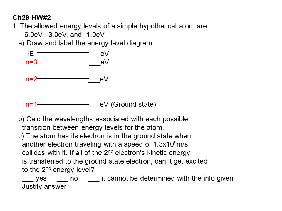 Ch29 HW#2 1. The allowed energy levels of a simple hypothetical atom are. -6.0eV, -3.0eV, and -1.0eV.