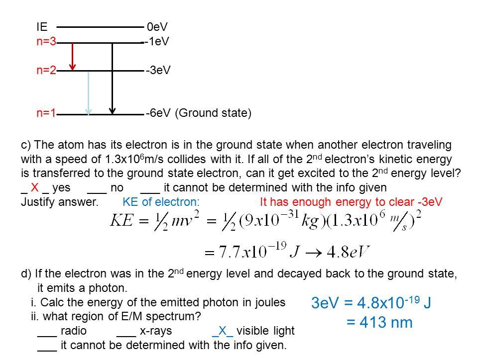 3eV = 4.8x10-19 J = 413 nm IE 0eV n=3 --1eV n=2 -3eV