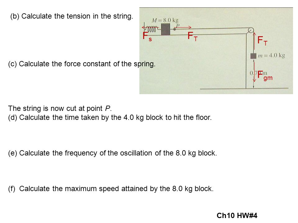 Fs FT FT Fgm (b) Calculate the tension in the string.