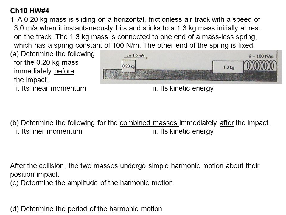 Ch10 HW#4 1. A 0.20 kg mass is sliding on a horizontal, frictionless air track with a speed of.