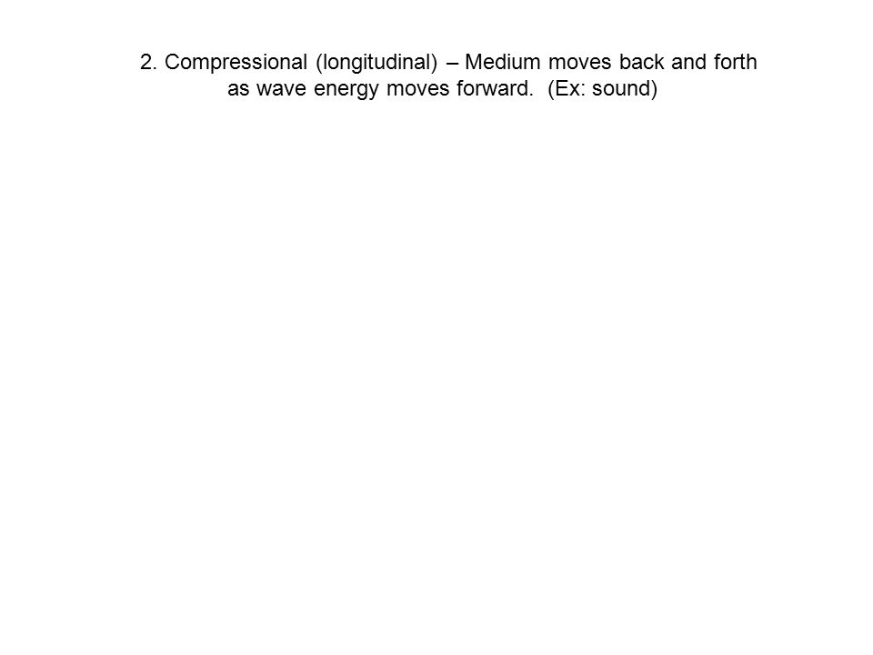 2. Compressional (longitudinal) – Medium moves back and forth