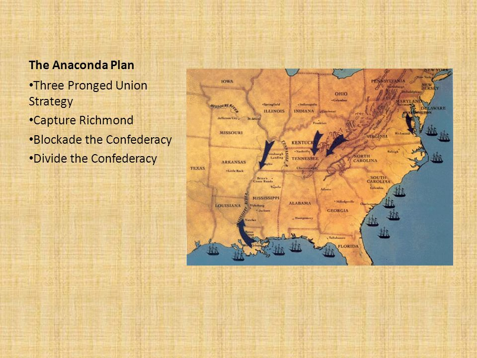 The Anaconda Plan Three Pronged Union Strategy. Capture Richmond.