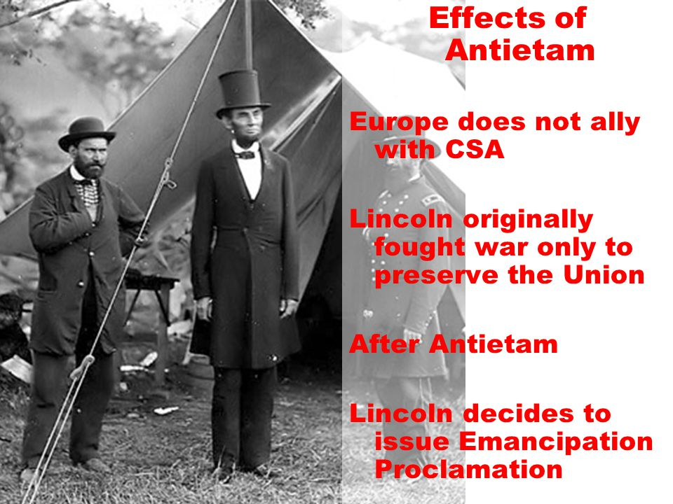Effects of Antietam Europe does not ally with CSA