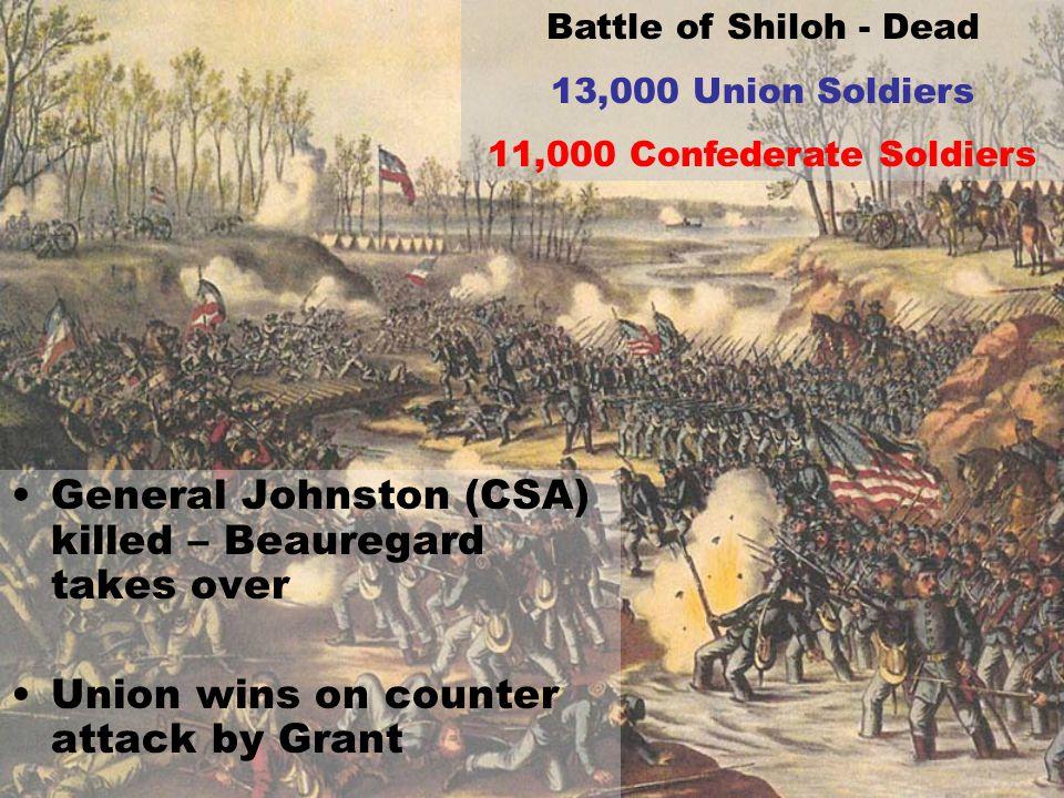 General Johnston (CSA) killed – Beauregard takes over