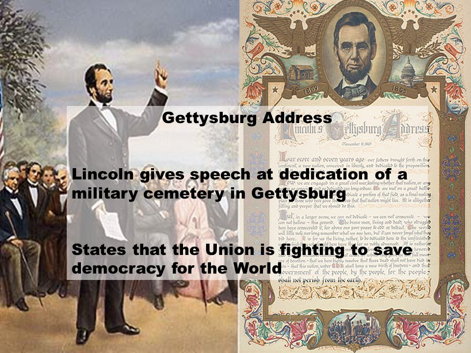 Gettysburg Address Lincoln gives speech at dedication of a military cemetery in Gettysburg.
