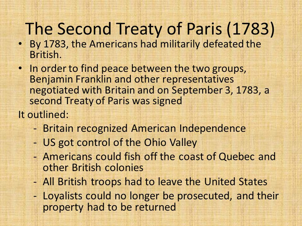 The Second Treaty of Paris (1783)