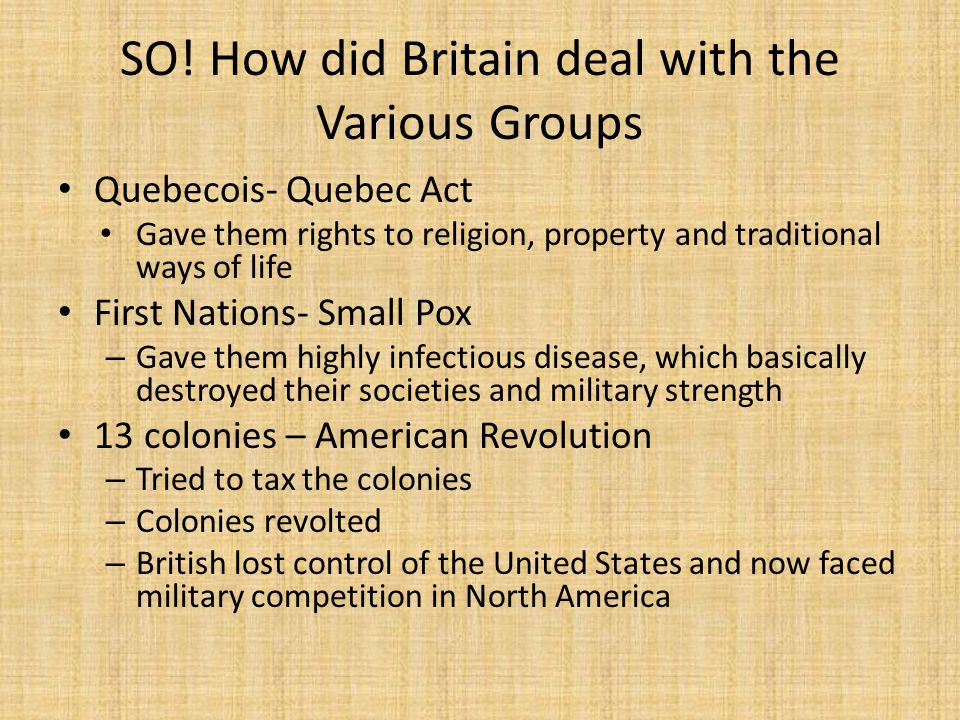 SO! How did Britain deal with the Various Groups