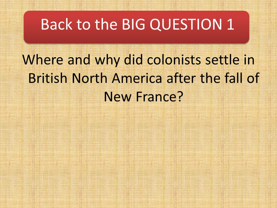 Back to the BIG QUESTION 1
