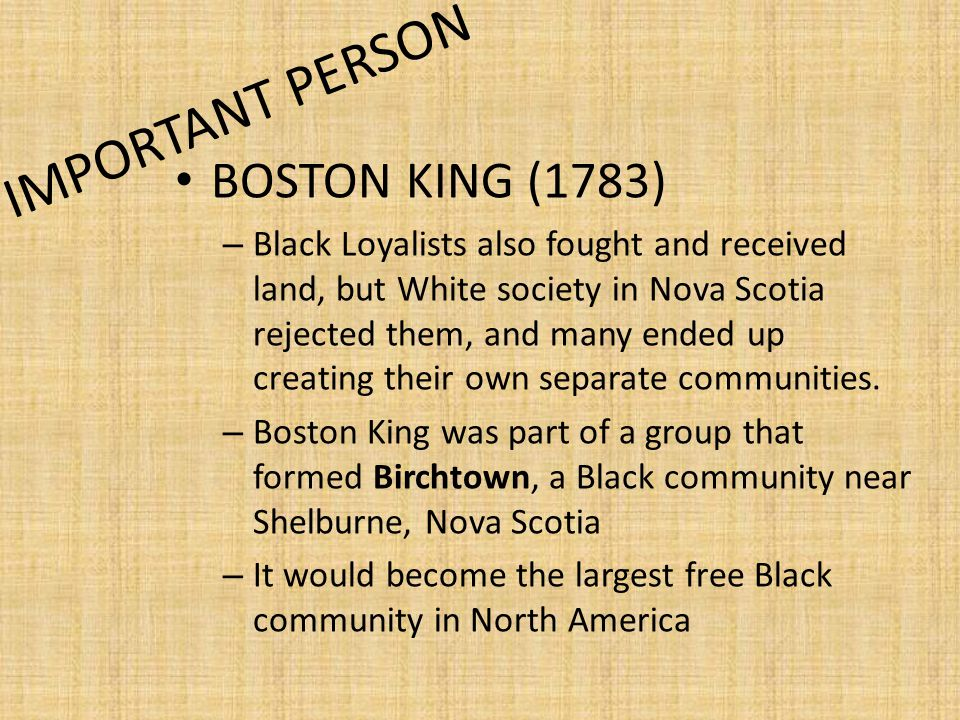 IMPORTANT PERSON BOSTON KING (1783)