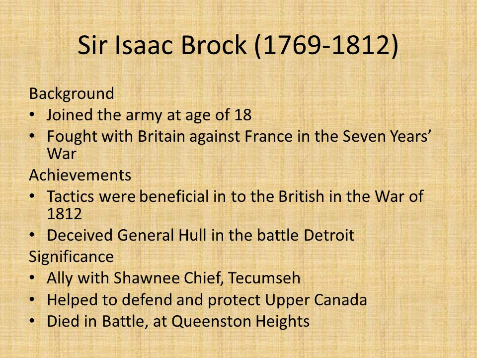 Sir Isaac Brock (1769-1812) Background Joined the army at age of 18