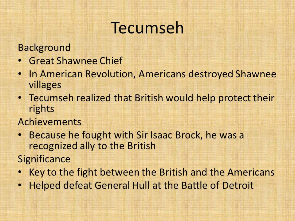 Tecumseh Background Great Shawnee Chief