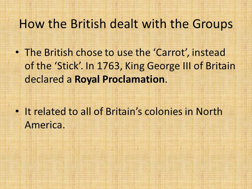 How the British dealt with the Groups