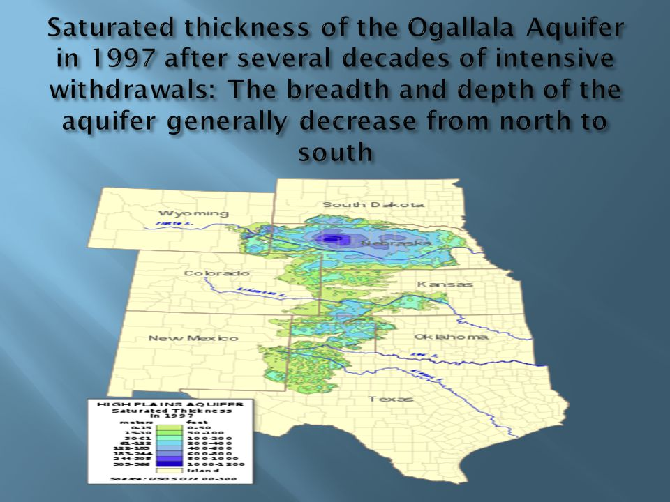 Saturated thickness of the Ogallala Aquifer in 1997 after several decades of intensive withdrawals: The breadth and depth of the aquifer generally decrease from north to south