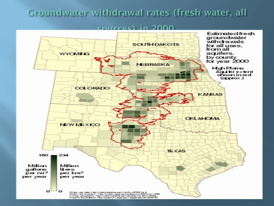Groundwater withdrawal rates (fresh water, all sources) in 2000.