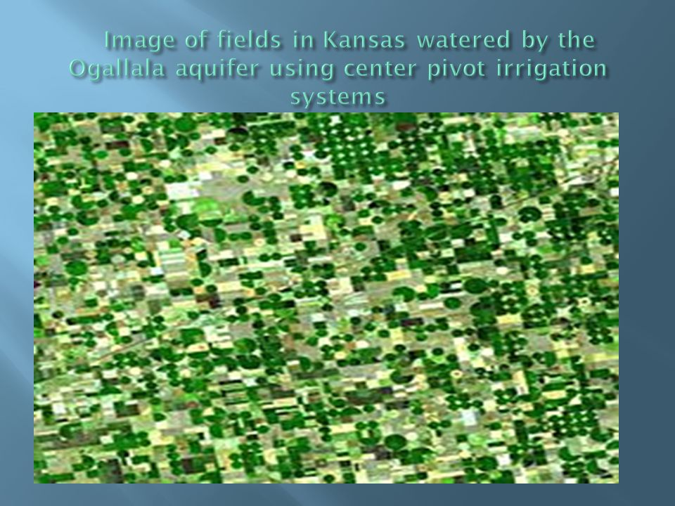Image of fields in Kansas watered by the Ogallala aquifer using center pivot irrigation systems
