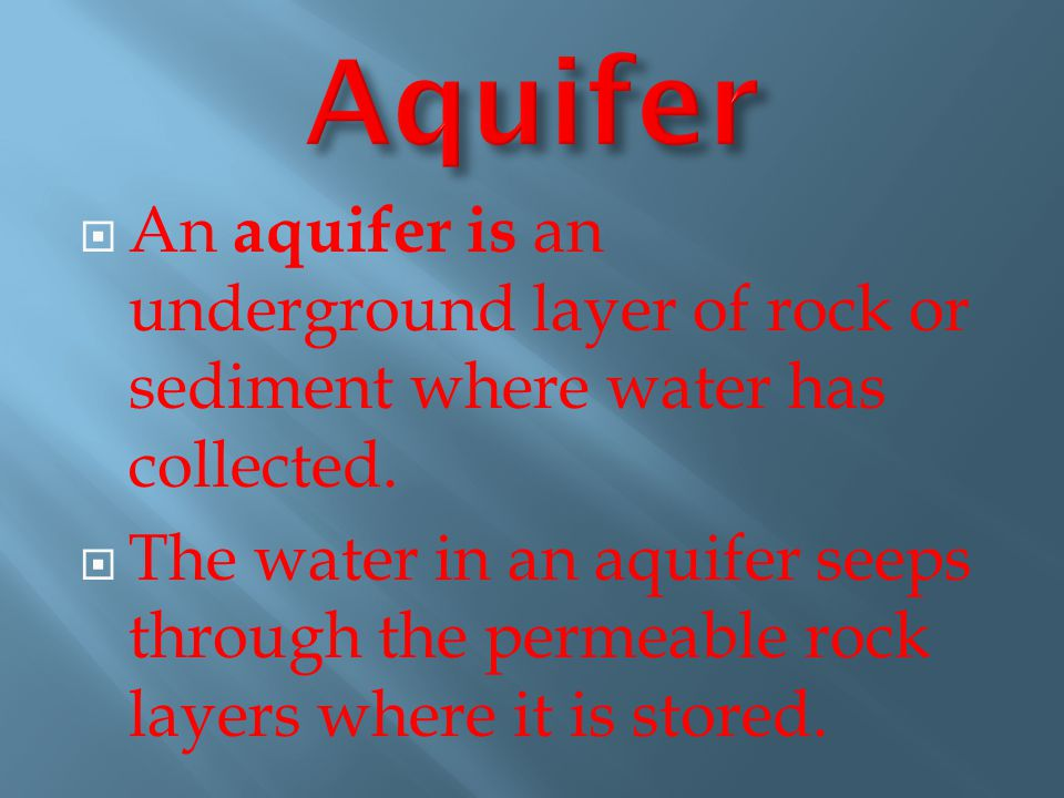 Aquifer An aquifer is an underground layer of rock or sediment where water has collected.