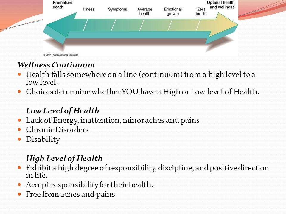 Wellness Continuum Health falls somewhere on a line (continuum) from a high level to a low level.