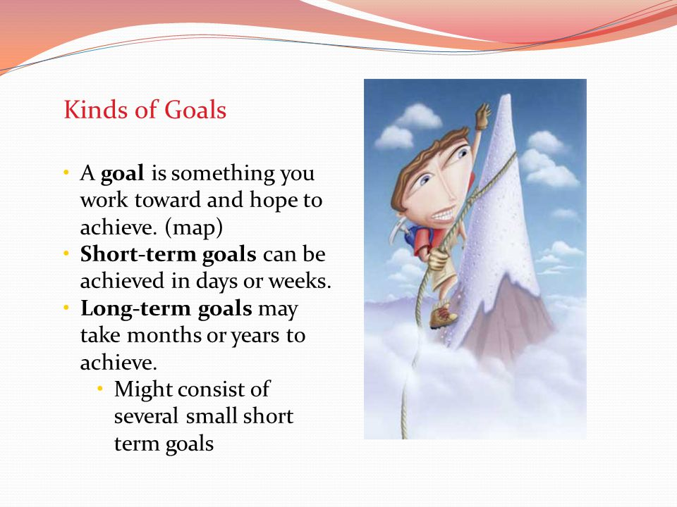 Kinds of Goals A goal is something you work toward and hope to achieve. (map) Short-term goals can be achieved in days or weeks.